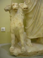 Detail of Roman sculpture of seated Hades, showing Cerberus
